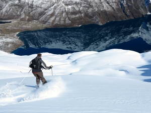 Skiing in our charter terrain