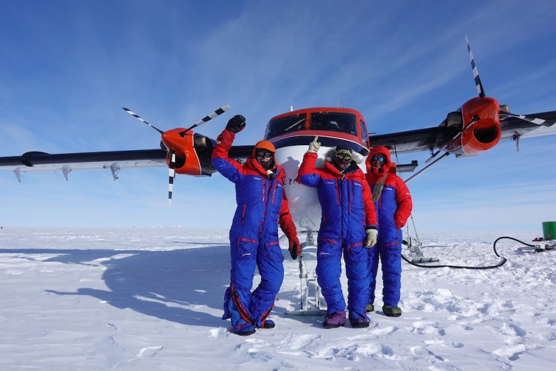 Then flown by Twin Otter, via a refuel, to 88 degrees south, about 200km from the South Pole